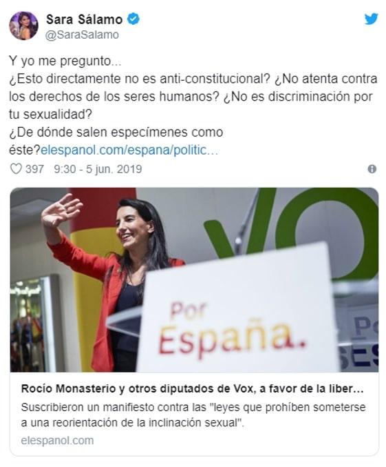 La actriz no dudó en cargar contra Vox y Rocío Monasterio